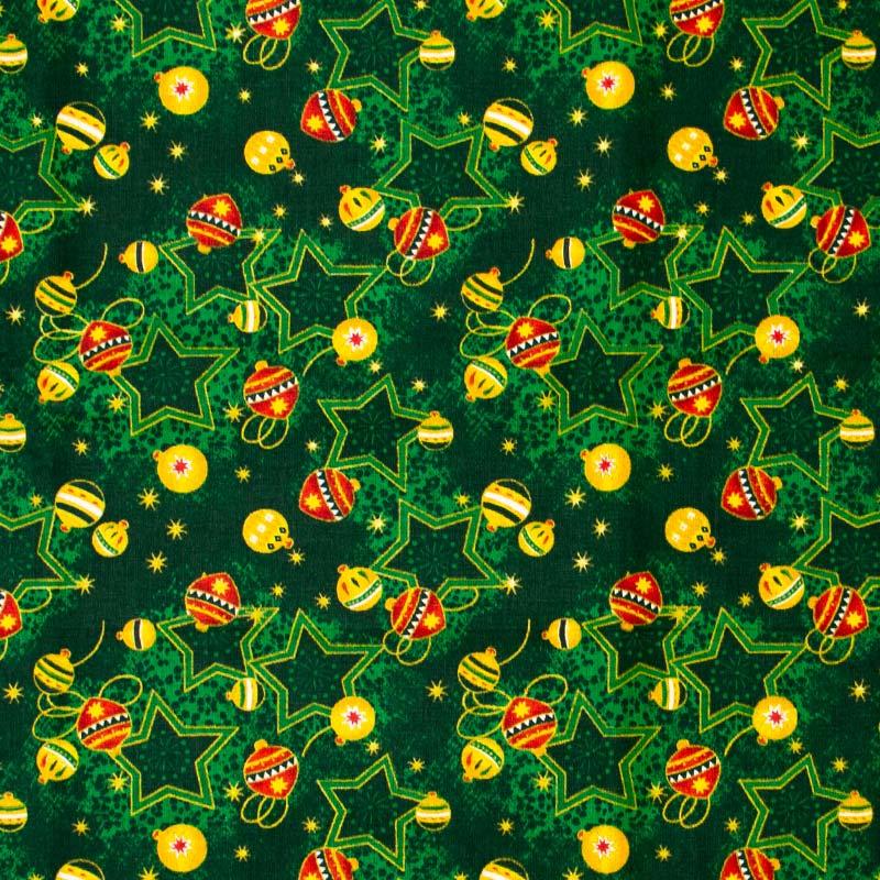 Estilotex - Coleção Natal - Bolas e Estrelas de Natal Fundo Verde - 50cm X150cm