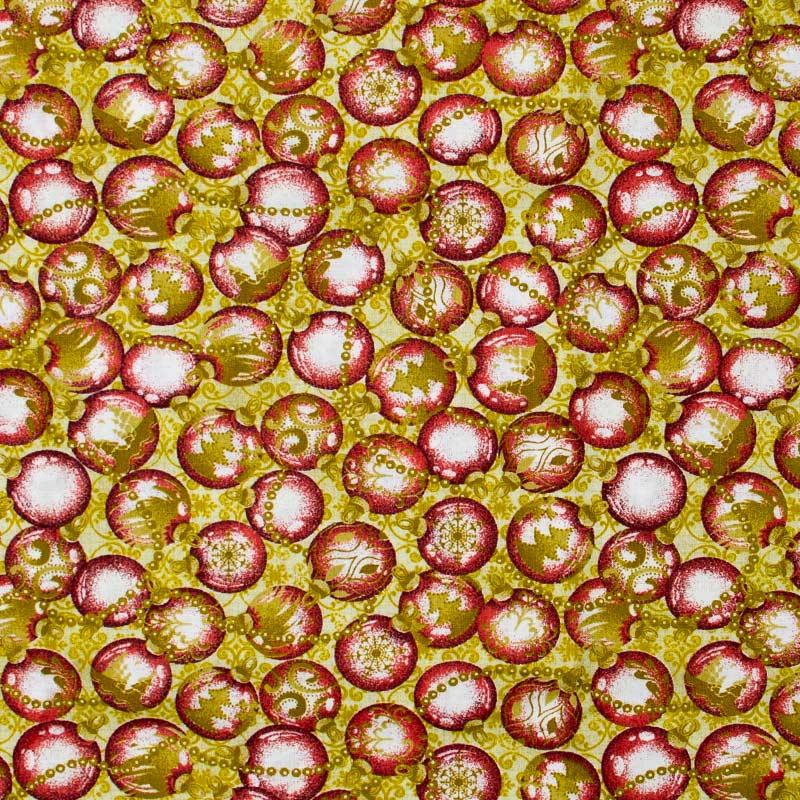 Estilotex - Coleção Natal - Estampa Bolas Vermelha Com Dourado - 50cm x 150cm