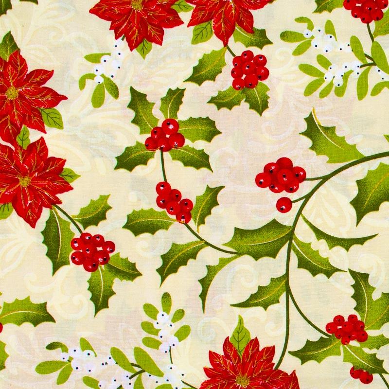 Estilotex - Coleção Natal - Flores Natal - 50cm X150cm