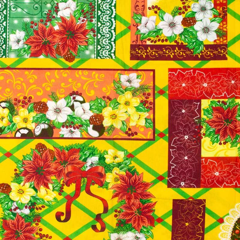 Estilotex - Coleção Natal - Guirlanda e Flores de Natal - 50cm X150cm
