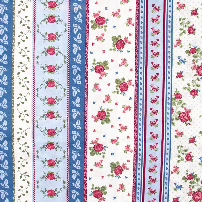 Estilotex - Faixas Flores Azul/Branco - 50cm x 150cm