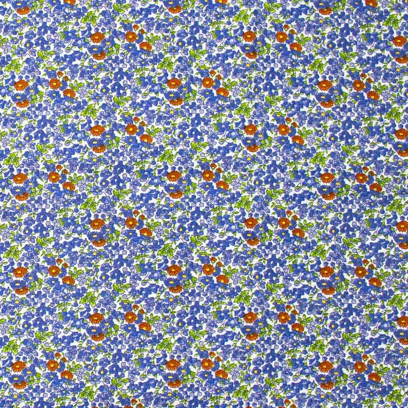 Estilotex - Floral Azul/Vermelho Com Fundo Branco - 50cm x 150cm