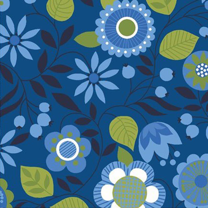 Eva e Eva Coleção Classic Blue - Estampa Floral Azul - 50cm x 150cm