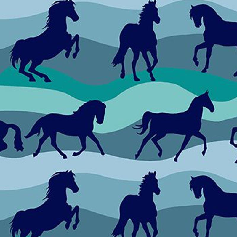 Eva e Eva  - Coleção Cowboys - Estampa Cavalos Listrado - 50cm x 150cm