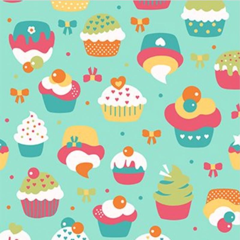 Eva e Eva  - Coleção Festa - Estampa Cupcake Azul e Turquesa - 50cm x 150cm
