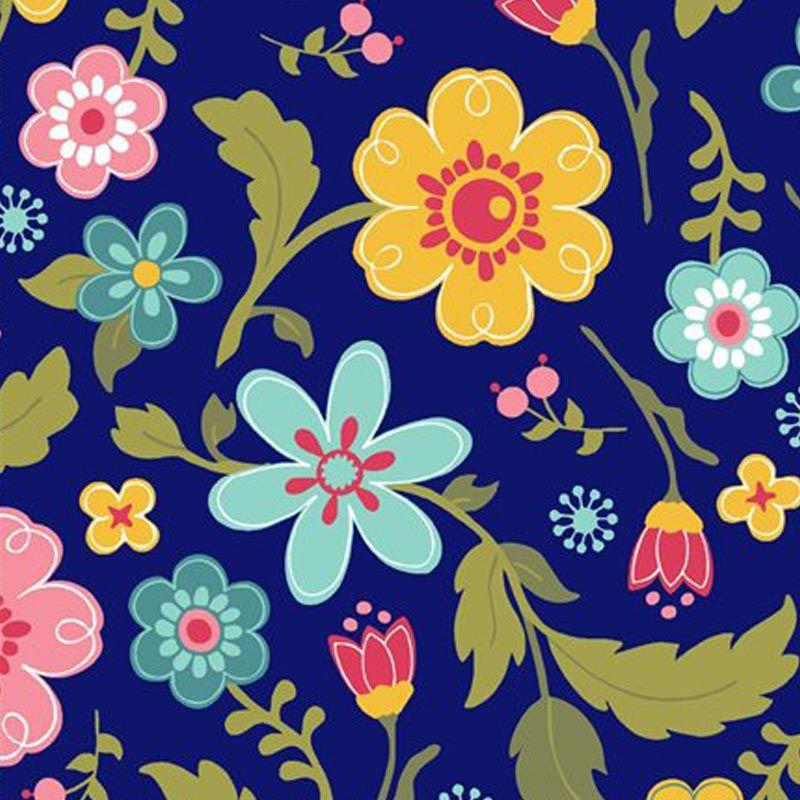Eva e Eva Coleção Florescer - Estampa Floral Marinho - 50cm x 150cm