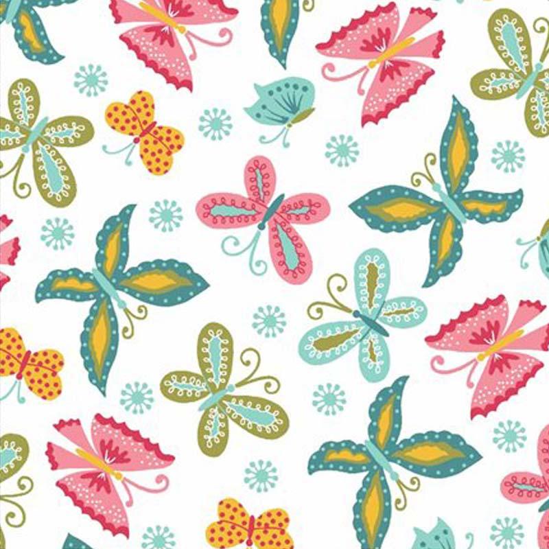 Eva e Eva Coleção Florescer - Estampa Florescer Borboletas Branco - 50cm x 150cm