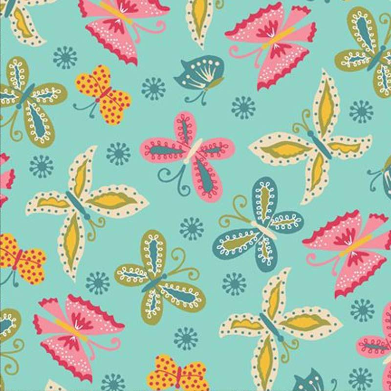 Eva e Eva Coleção Florescer - Estampa Florescer Borboletas Tiffany - 50cm x 150cm