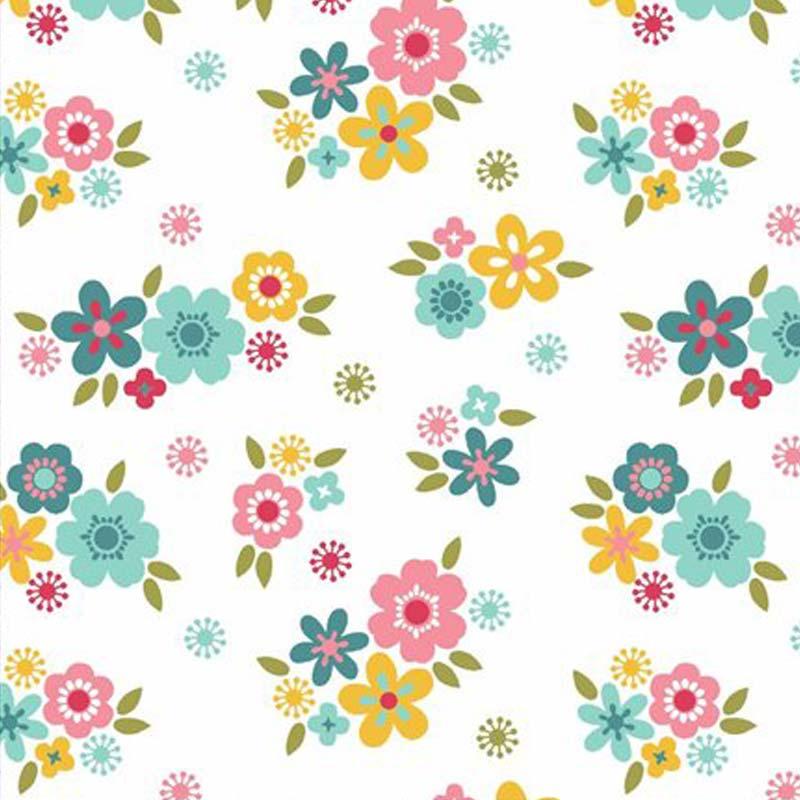 Eva e Eva Coleção Florescer - Estampa Florescer Mini Flores Branco - 50cm x 150cm