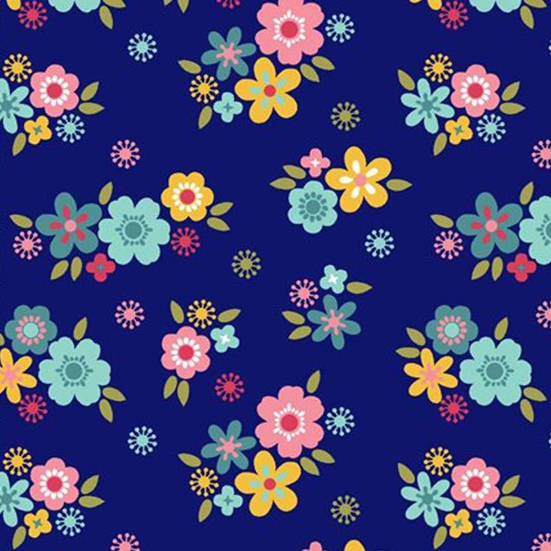 Eva e Eva Coleção Florescer - Estampa Florescer Mini Flores Marinho - 50cm x 150cm