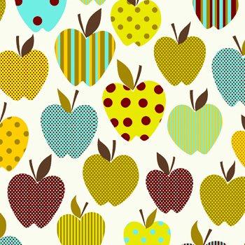 Eva e Eva Coleção Frutas - Estampa Maçãs Divertidas Branco - 50cm x 150cm
