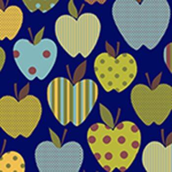 Eva e Eva Coleção Frutas - Estampa Maçãs Divertidas Marinho - 50cm x 150cm