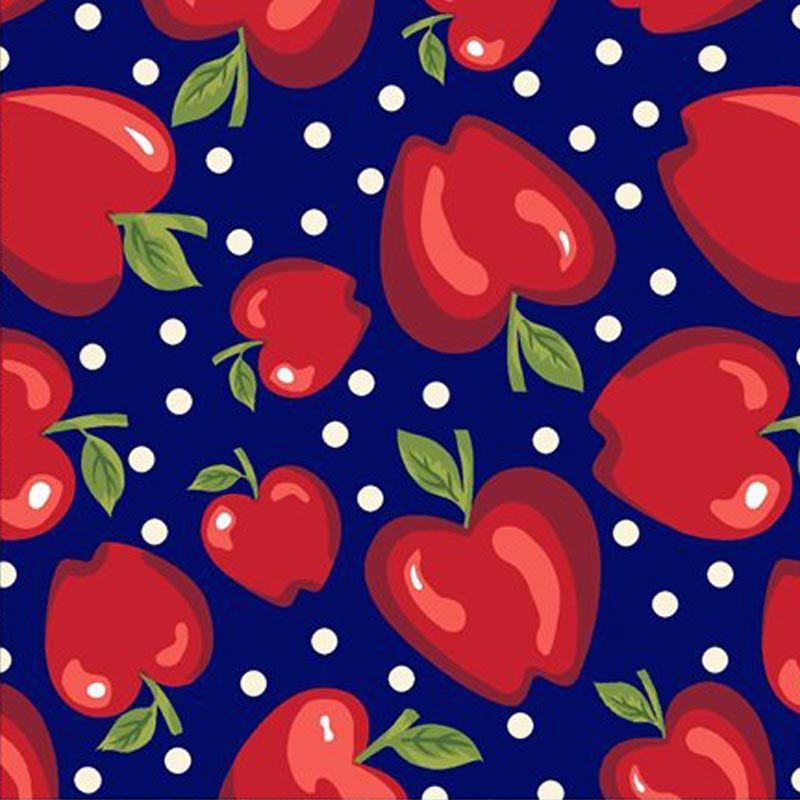 Eva e Eva Coleção Frutas - Estampa Maçãs Marinho - 50cm x 150cm