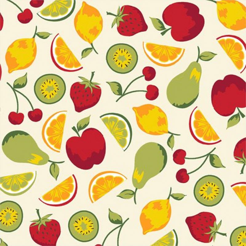 Eva e Eva Coleção Frutas - Salada de Frutas Creme - 50cm x 150cm