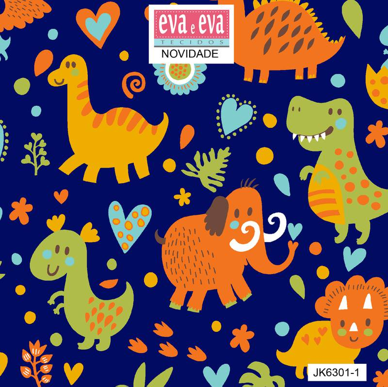 Eva e Eva  - Coleção Jurassic  Kids - Estampa Dinos Fundo Marinho - 50cm x 150cm