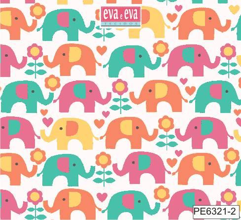 Eva e Eva Coleção Passo do Elefantinho - Estampa Elefantinho Colorido Fundo Branco - 50cm x 150cm