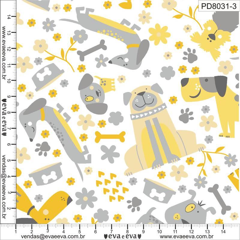 Eva e Eva  - Coleção Pet Dog - Estampa Dogs Amarelo - 50cm x 150cm