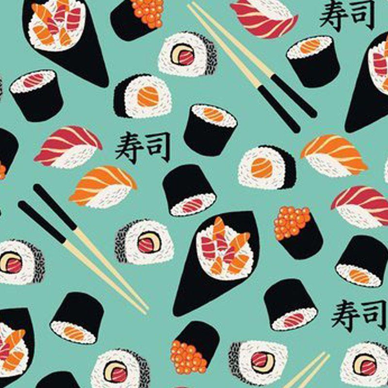 Eva e Eva Coleção Sushi Bar - Estampa Sushi Azul - 50cm x 150cm