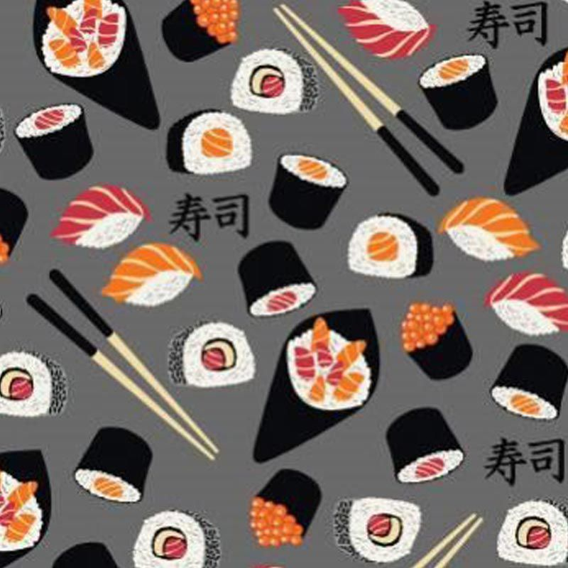 Eva e Eva Coleção Sushi Bar - Estampa Sushi Cinza - 50cm x 150cm