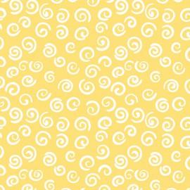 Fabricart - Coleção Pandinhas - Estampa Caracol Amarelo - 50cm x 150cm