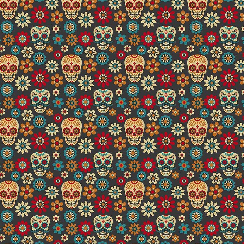 Fabricart - Coleção 116 Colors - Caveira Color - 50cm X150cm