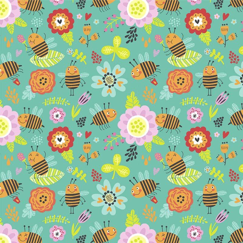 Fabricart - Coleção 116 Colors - Estampa Bee Garden - 50cm X150cm