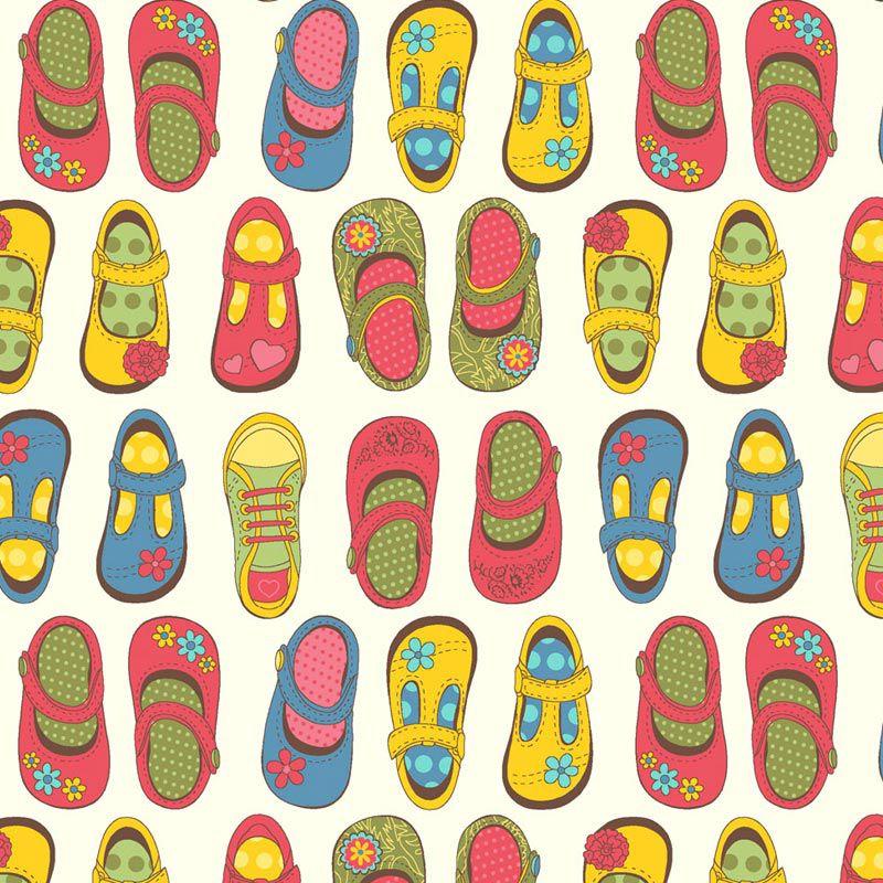 Fabricart - Coleção 116 Colors - Estampa Sapatinhos - 50cm X150cm