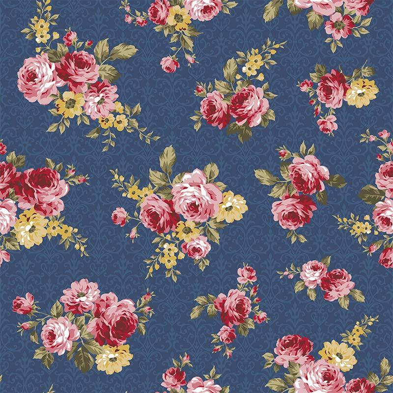 Fabricart Coleção 99 Exuberance - Floral Arabesque Azul Noite - 50cm X150cm