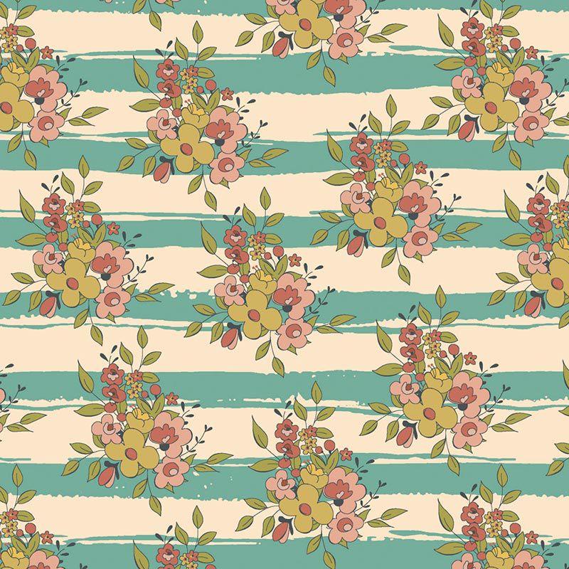 Fabricart Coleção Aromas do Campo - Aroma Listrado Tiffany - 50cm x 150cm