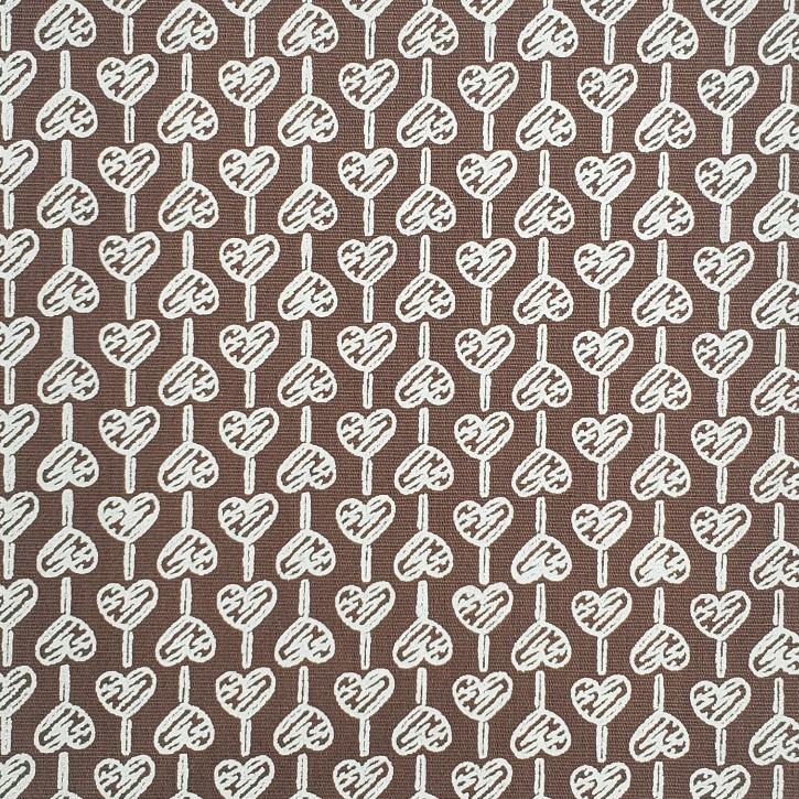 Fabricart Coleção Basics & Colors - Geométricos - Coração Marrom - 50cm X150cm