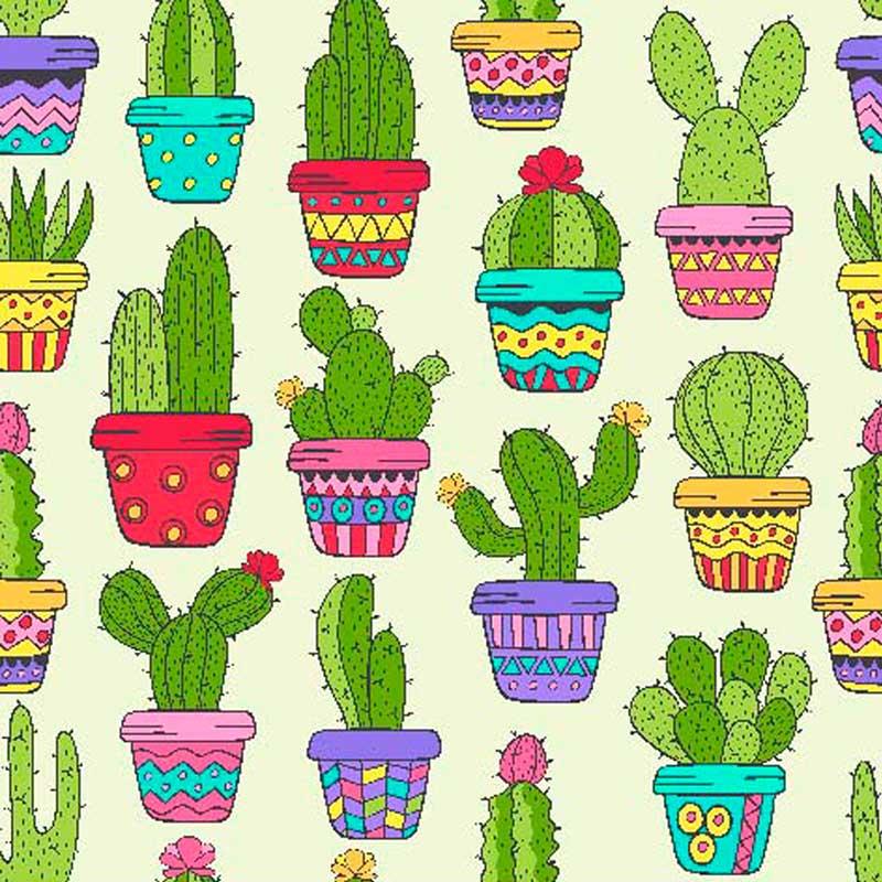 Fabricart - Coleção Digital - Estampa Cactus Color - 50cm X150cm
