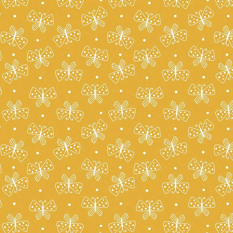 Fabricart Coleção Mini Borboletas - Mini Borboletas Amarelo - 50cm X150cm