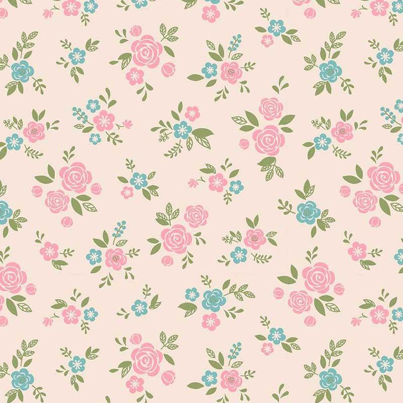 Fabricart Coleção Som dos Pássaros - Mini Rosinhas Cor de Rosa - 50cm X150cm