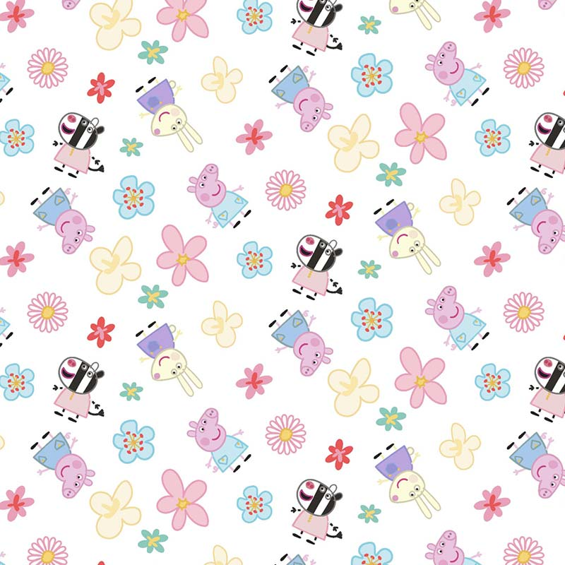 Fabricart Coleção Turma da Peppa - Estampa Turma da Peppa com Flores 50cmX150cm - personagem