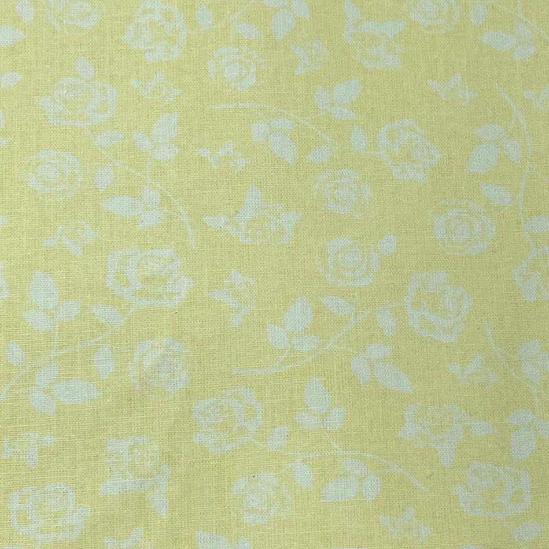 Fabricart - Floral Branco Fundo Amarelo - 50cm X150cm