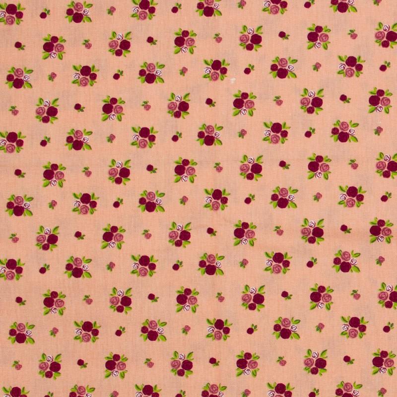 Fabricart - Floral Vermelho Com Fundo Salmão - 50cm X150cm