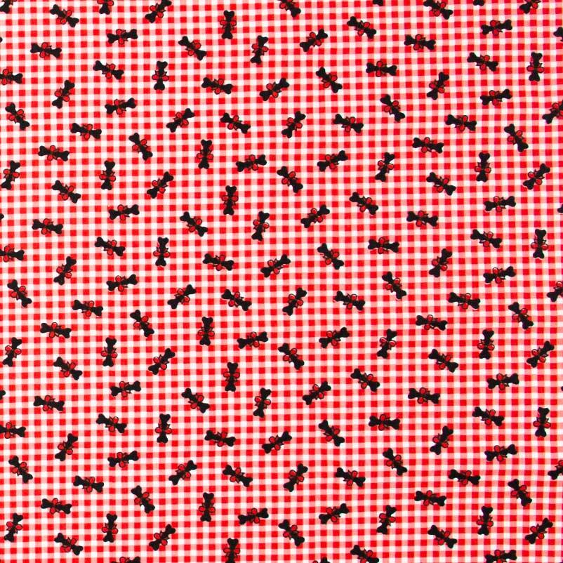 Fabricart - Xadrez Vermelho e Branco Com Ossos - 50cm X150cm