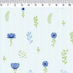 Fernando Maluhy - Coleção Botânica - Floral Azul Com Listras - 50cm X 150cm