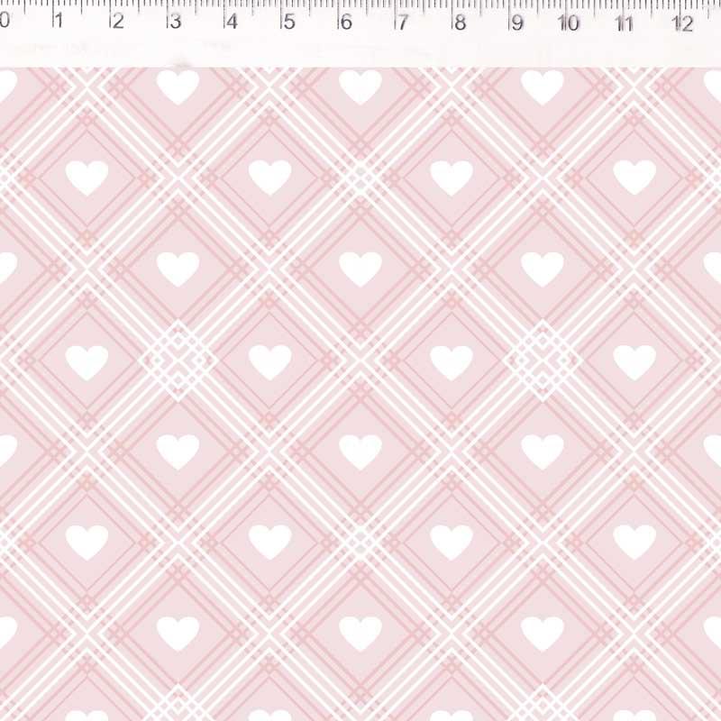 Fernando Maluhy - Coleção Coração De Pano - Xadrez Com Corações Fundo Rosa - 50cm X 150cm