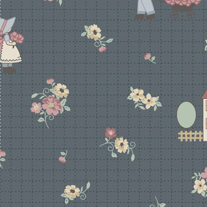 Fernando Maluhy - Coleção Dream Little  Dream Millyta - Sunbonnet Little Dream Cinza - 50cm X150cm