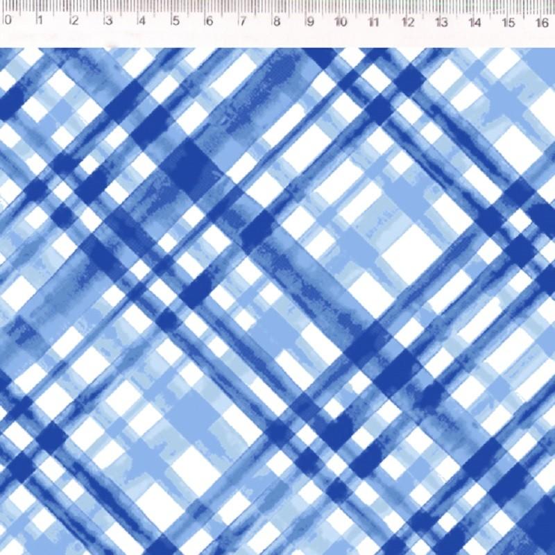 Fernando Maluhy - Coleção Florata - Põe Na Mesa Decor Sarja Xadrex Envezado Azul - 50cm X150cm
