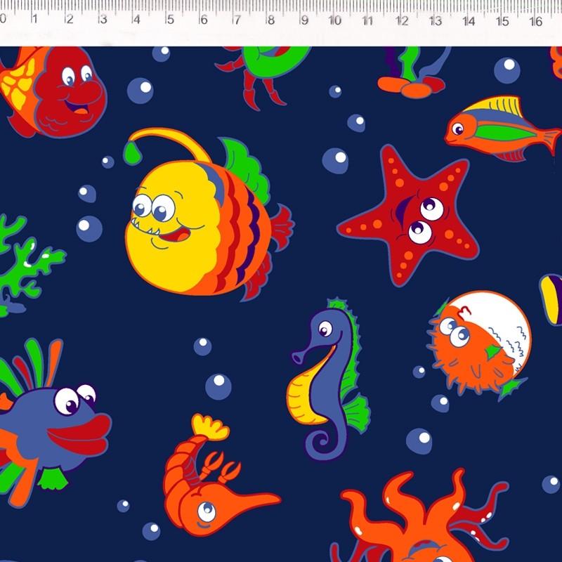 Fernando Maluhy - Coleçao Joy - Fishes Colorido Marinho - 50cm X 150cm