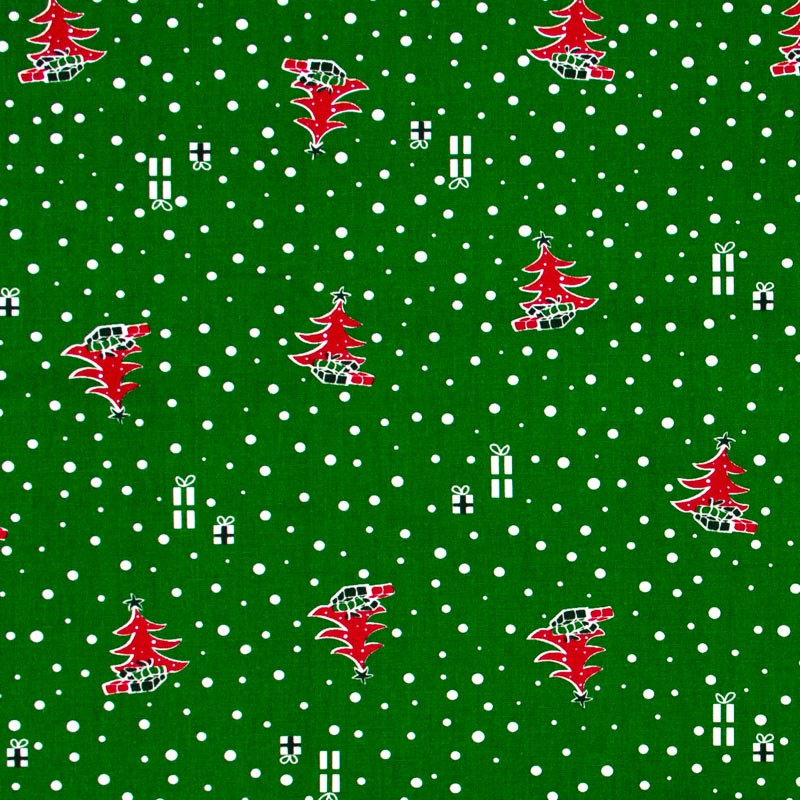 Fernando Maluhy - Coleção Natal - Árvore de Natal Com Presentes Fundo Verde - 50cm X150cm