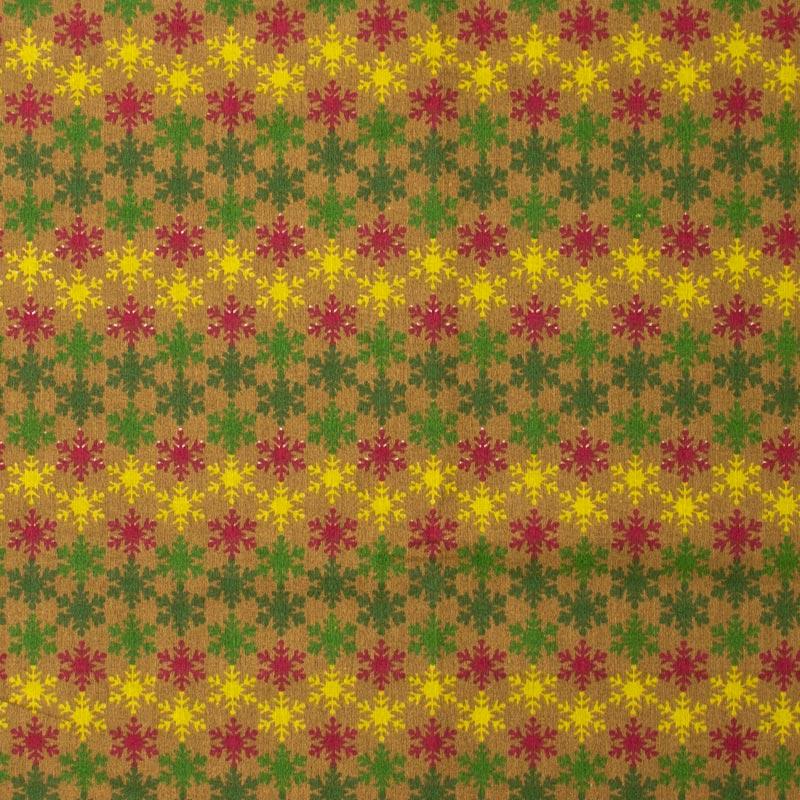 Fernando Maluhy - Coleção Natal - Flocos de Neve Fundo Marrom - 50cm X150cm