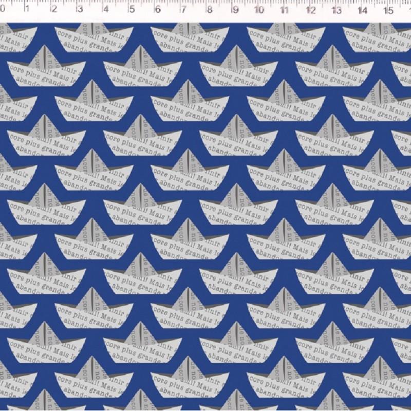 Fernando Maluhy - Coleção Nave - Mini Barco Jornal Azul- 50cm X 150cm