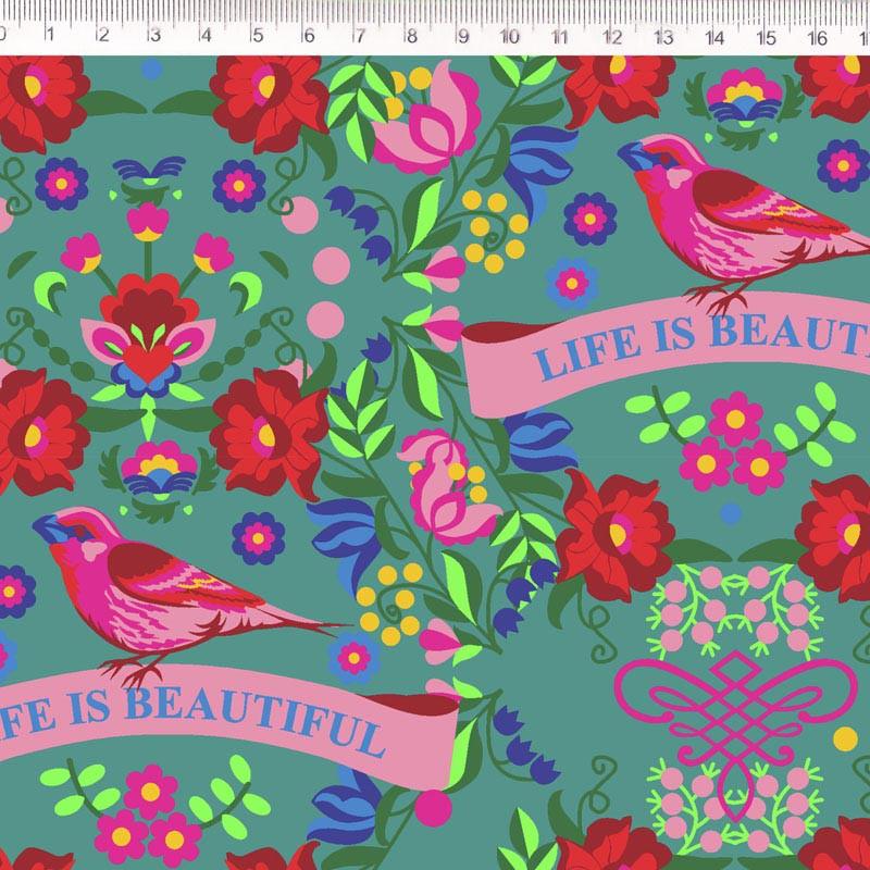 Fernando Maluhy - Coleção Renata Blanco - Floral com Pássaro - 50cm X150cm