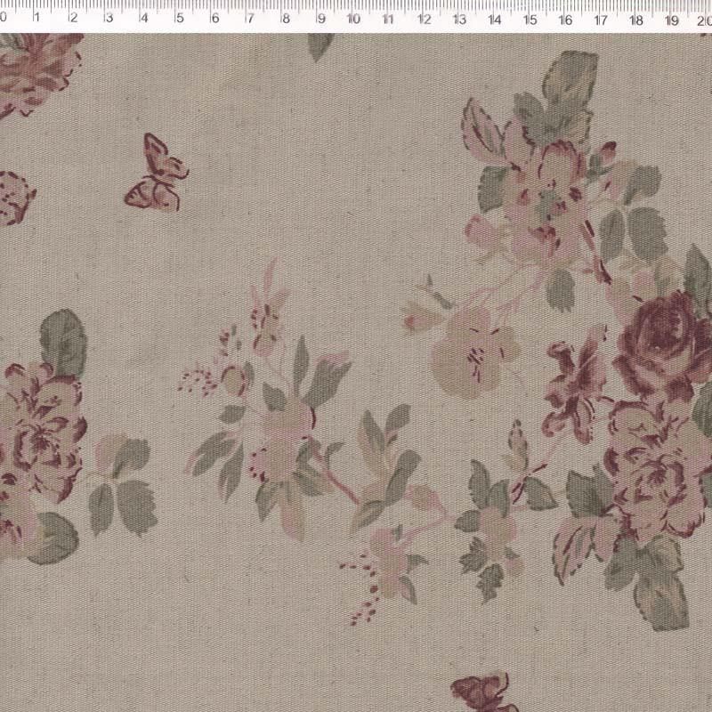 Fernando Maluhy - Coleção Rose Garden -  Linho Estampado - Flora Rosa - Manu- 50cm X140cm
