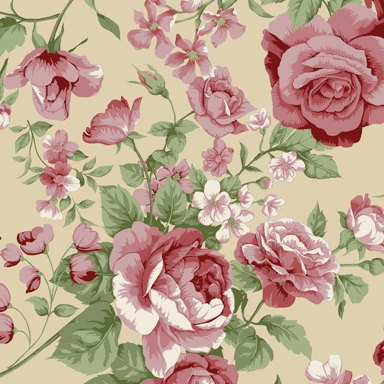Fernando Maluhy - Coleção Roses in Bloom - Rosas Fundo Bege - 50cm X150cm