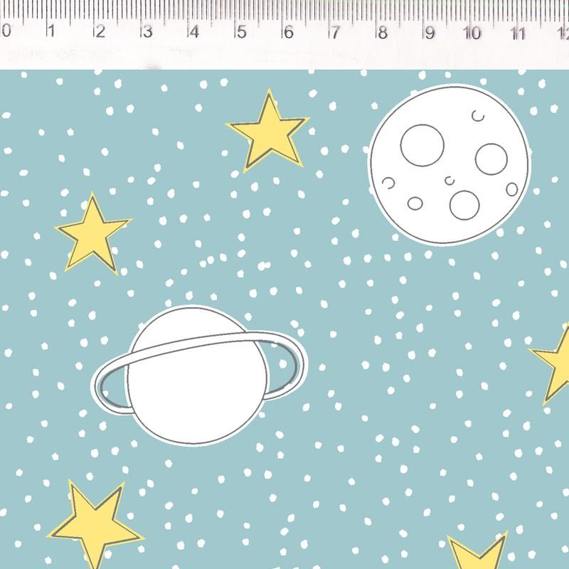 Fernando Maluhy - Coleção Saturno Eliana Sposito - Planetes e Foguetes Fundo Tiffany - 50cm X 150cm