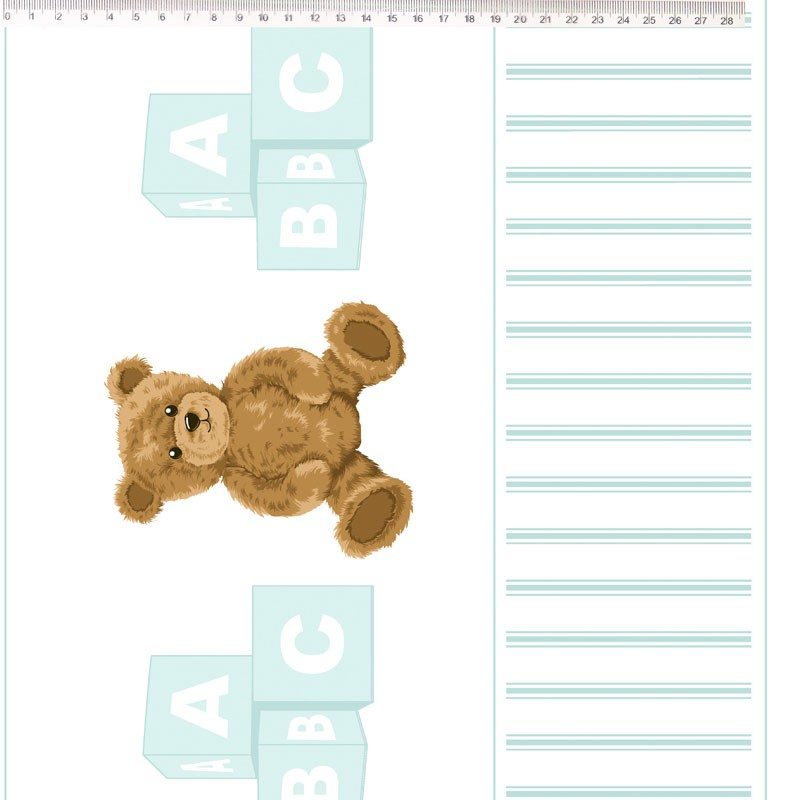 Fernando Maluhy - Coleção Teddy Bear - Barrado De Urso Azul Claro - 50cm X 150cm